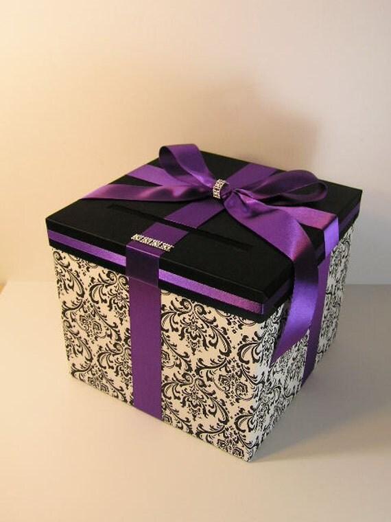 Purple Wedding Gift Card Box : Damask and Purple Wedding Card Box Gift Card Box Money Box Holder ...