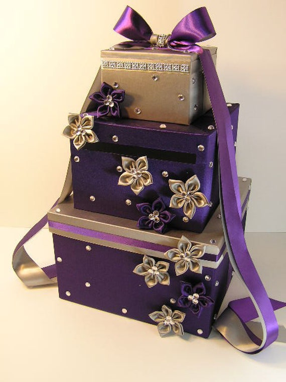 Wedding Card Box Purple and Silver Gift Card Box Money Box – Wedding Money Card Box