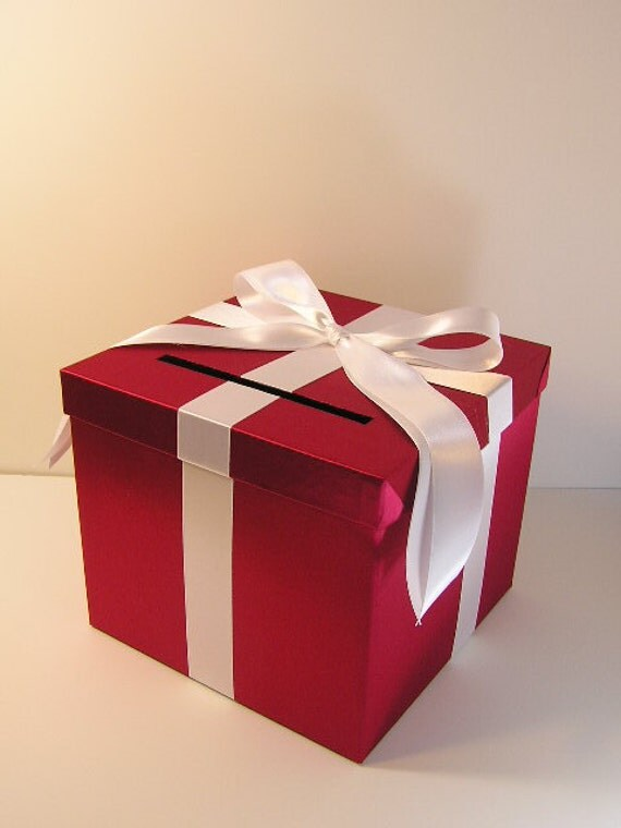 Wedding Card Box RedScarlet and Yellow Gift Card Box Money – Red Wedding Card Box