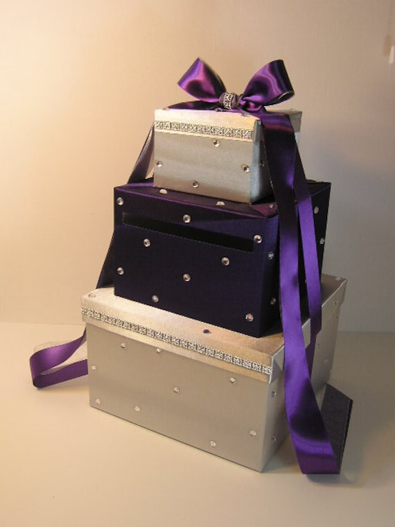 Wedding Card Box Silver and Purple Gift Card Box Money Card Box Holder ...