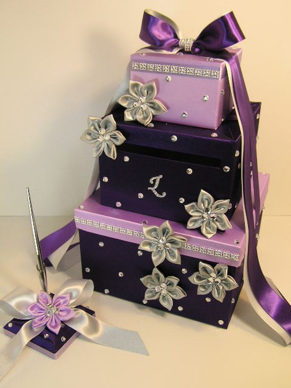 Wedding Card Box Purple and Lavender Gift Card Box Money Box – Gift Card Box for Wedding