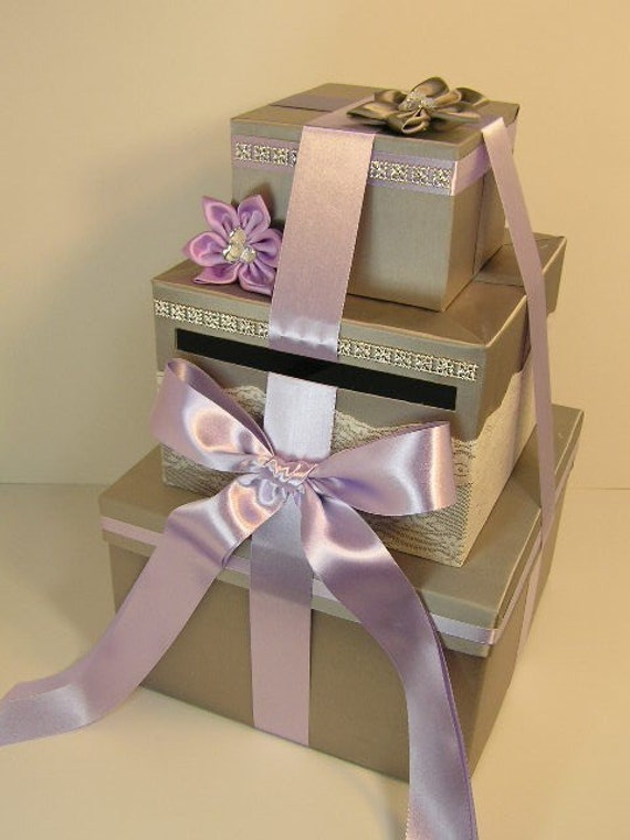 Wedding Card Box Silver and Lavender Gift Card Box Money Box Holder--Customize your color