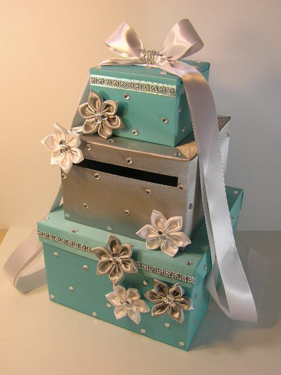 Wedding Card Box White and Turquoise Gift Card Box Money Box