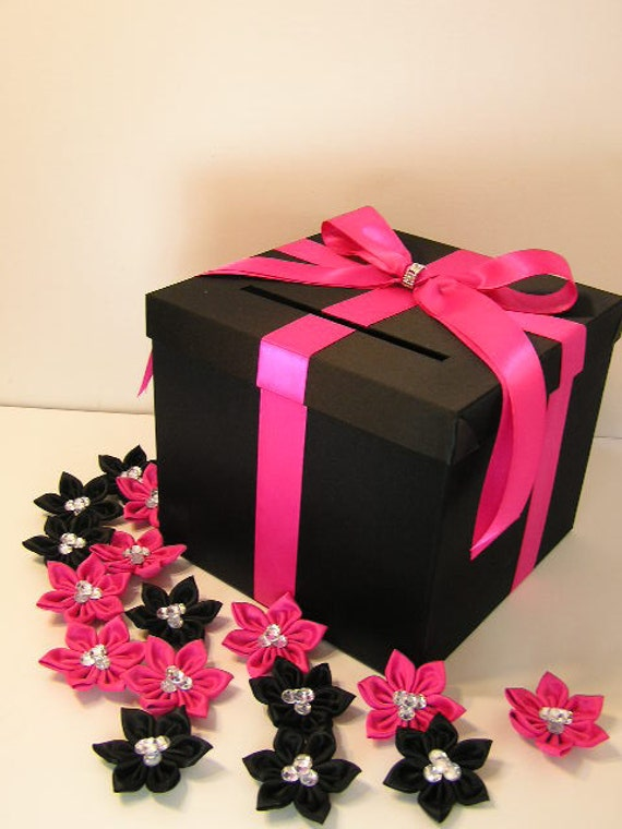 Black Wedding Gift Card Box : Black and Hot/Shocking pink Wedding Card Box Gift Card Box Money Box ...