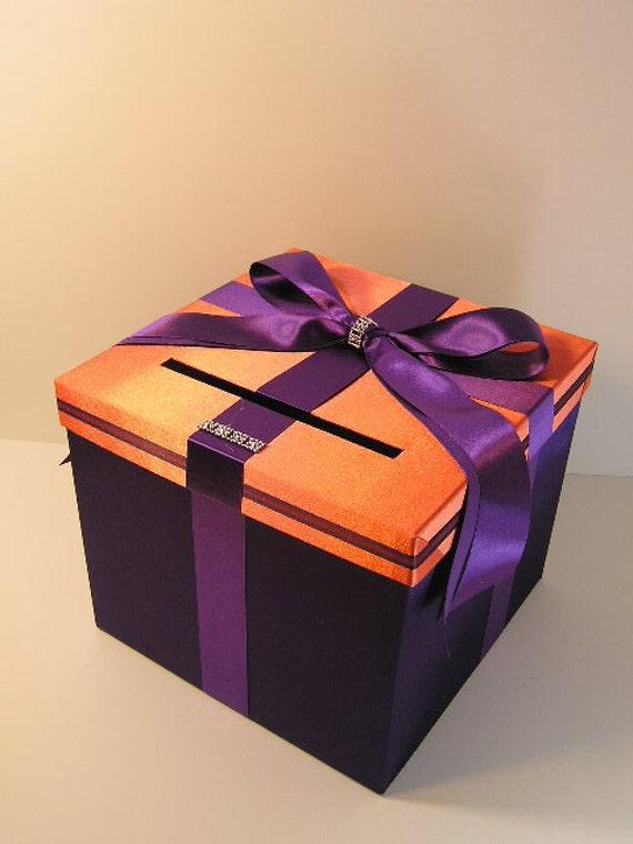 Orange and Purple Wedding Money Box Card Box Gift Card Box Holder ...
