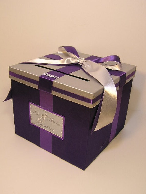Wedding money box silver and purple card gift by