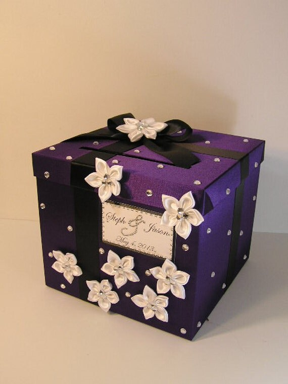Black And White Wedding Gift Card Box : Wedding Card Box Purple,Black and White Gift Card Box Money Box Holder ...