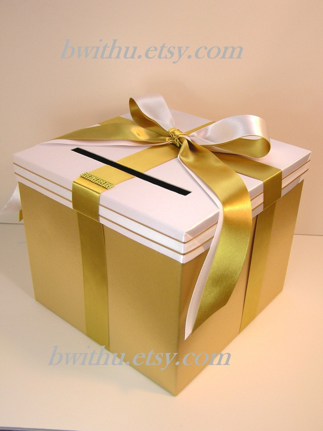 Black And White Wedding Gift Card Box : Wedding Card Box Gold and Black Gift Card Box by bwithustudio