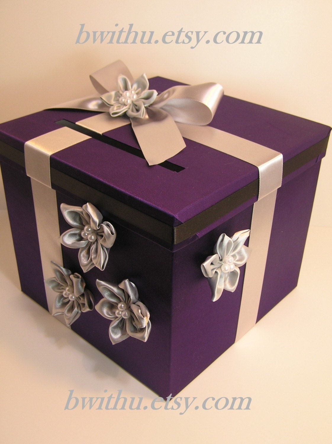 purple and silver Wedding Card Box Gift Card Box by bwithustudio