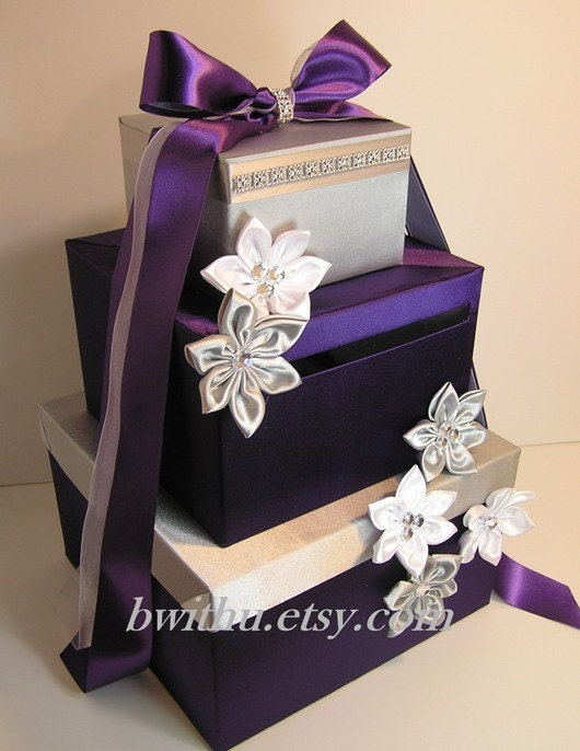 Wedding Gift Box Etsy : Wedding Card Box Silver and Purple Gift Card Box Money Box