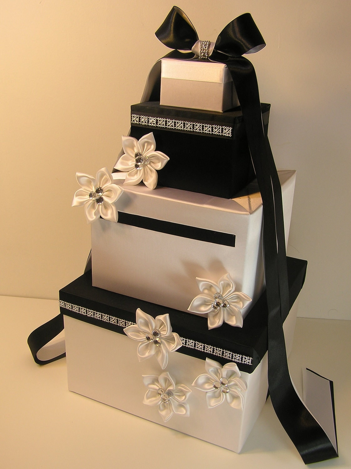 Black And White Wedding Gift Card Box : Wedding Card Box White and Black Gift Card Box Money Box
