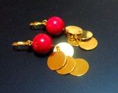 Pink and Gold Coin Shimmer Earrings