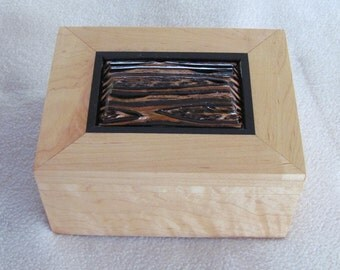 Ebony and Fernwood Trimmed Solid Maple Wood Jewelry Box