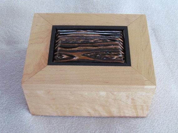 Ebony and Fernwood Trimmed Solid Maple Wood Jewelry Box