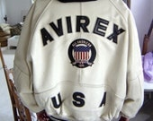 Vintage 80s White Avirex leather bomber jacket