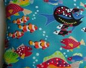 Colorful Fish Swim on Fun Kids Handmade Coastal Decor Pillow