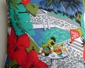 Tropical Vacation Scene Handmade Coastal Decor Pillow Palms Red Hibiscus
