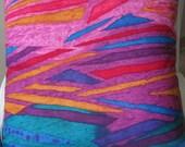 Tropical Time Hot Pink Aqua Handmade Decorative Pillow