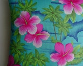 Tropical Handmade Pillow In Turquoise Sea Shades With Hibiscus and Palms
