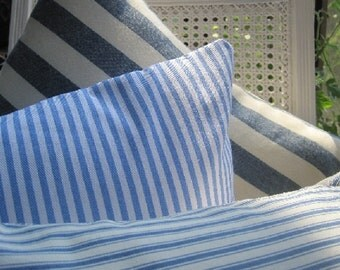 Nautical Coastal Decor Striped Pillow Handmade Seaside Classic