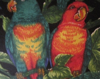 Parrots, Berries and Leaves, Tropical Handmade Pillow, Colorful and Unique