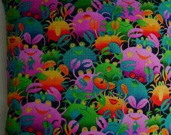 Colorful Crabs, a  Fun Coastal Decor Handmade Pillow