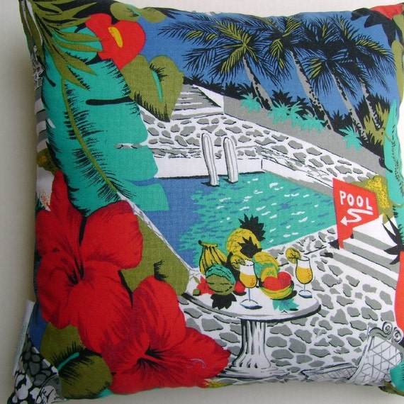 Tropical Vacation Scene Handmade Coastal Decor Pillow Palms Red Hibiscus