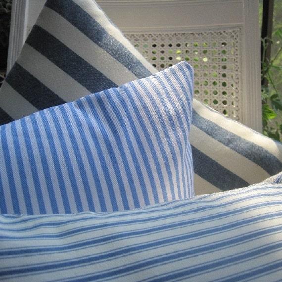 Nautical Coastal Decor Striped Pillow Handmade Seaside Classic