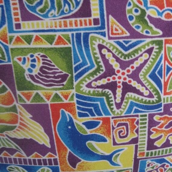 Tropical Sea Creature Print Handmade Pillow,  Palms, Fish, Starfish