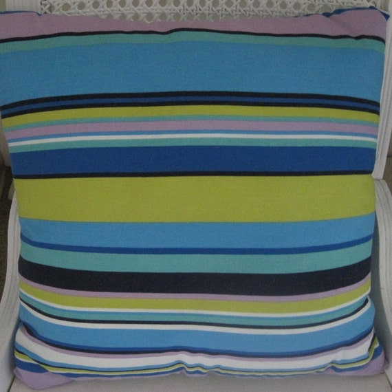 Summertime Stripes Beachy Decor  Handmade Decorative Pillow