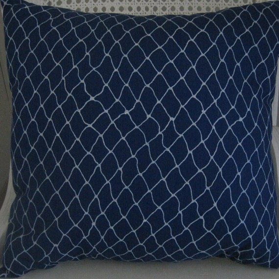 HELEN'S RESERVED LISTING Nautical Decor Fishnet Pillow Handmade, Decorative