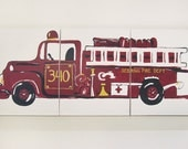 Vintage Firetruck Painting - 3 canvas spread