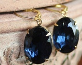 Montana Sapphire, Dark Blue, Oval, Dangle, Rhinestone Earrings