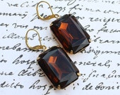 Smokey Topaz, Smoky, Dark Brown, Rich, Rhinestone, Faceted, Dangle Earrings