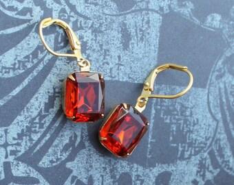 Bridal Earrings, Dark Orange Red, Bridesmaid Earrings, Burnt, Dangle, Madeira Topaz, Amber, Pear Shaped, Leverback, Rhinestone, Earings