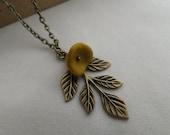 Leaf Necklace - Mustard Yellow Flower