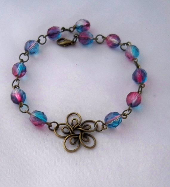 Antiqued Brass Flower Bracelet, Pink and Blue