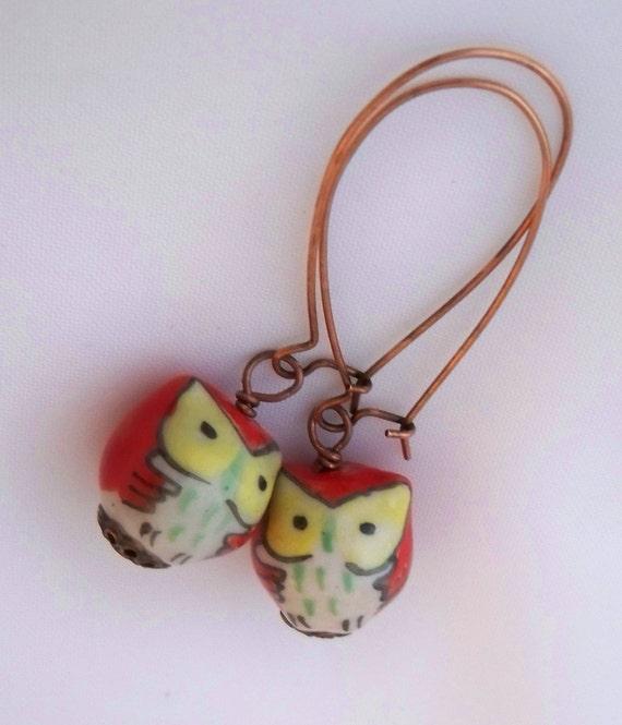 Orange Owl Earrings, Antiqued Copper