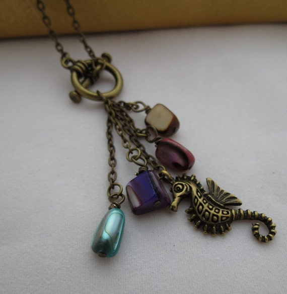 Seahorse Necklace - Mother of Pearl, Antiqued Brass