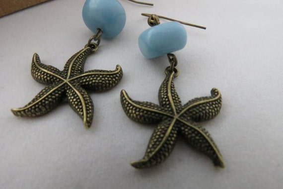 Reserved - Starfish Earrings, Baby Blue Pebble, Brass