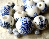 Blue and white bead assortment