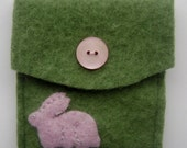 Recycled Sweater Pouch, Gadget Cozy - Pink Rabbit