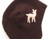 Cashmere Baby Hat- Brown Deer, size 12 to 24 months