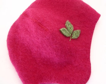 Upcycled Wool Newborn Baby Hat- Hot Pink with Green Leaves, size 0 to 6 months