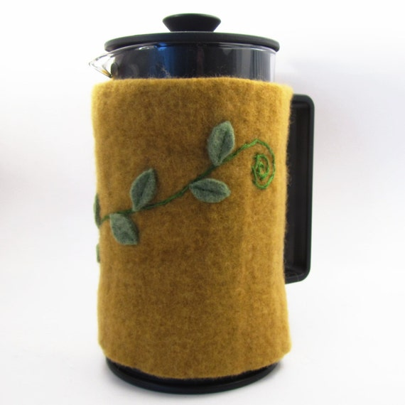 Felted Wool French Press Cozy- Green Leafy Vine