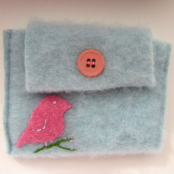 Upcycled Cashmere Accessory Pouch, Gadget Cozy - Light blue with Bird