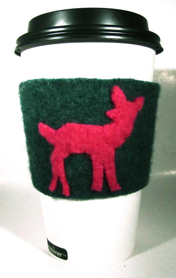 Upcycled Wool Coffee Sleeve- Hot Pink Deer
