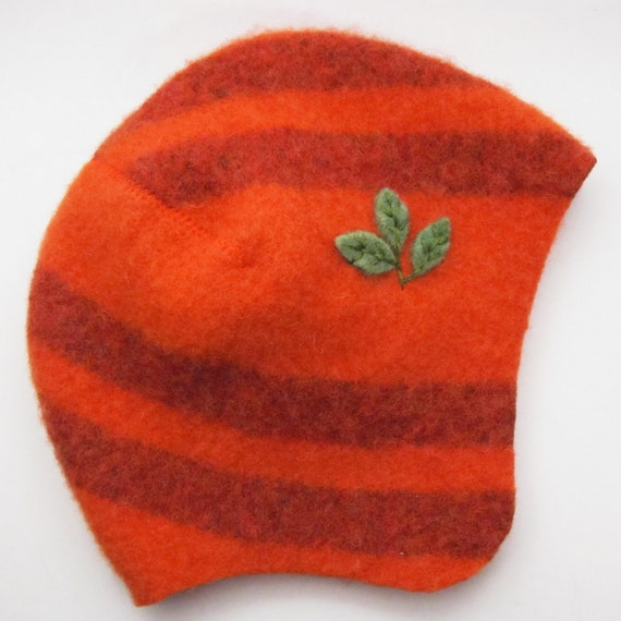 Upcycled Wool Baby Hat - Orange Stripes, size 6 to 12 months