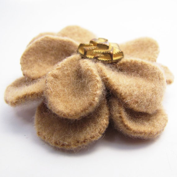 Upcycled Cashmere Flower Clip, Light Brown and Gold, Photography Prop