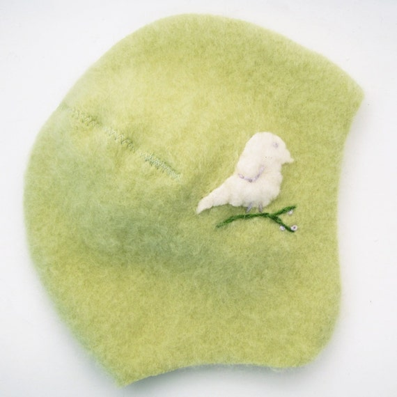Cashmere Toddler Hat- Light Green with White Bird, Size 2 to 3 years